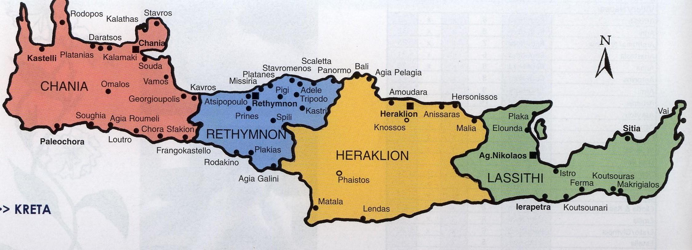 Carte Crete Stavromenos.Bezirke Kreta Reisefuhrer Kreta Abc Ihr Kreta Guide